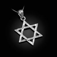 White Gold Jewish Star of David DC Charm Necklace