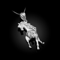 White Gold Stallion Horse Satin DC Pendant Necklace