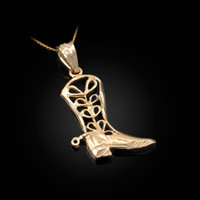 Yellow Gold Filigree Cowboy Boot Pendant Necklace