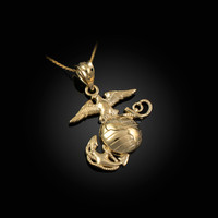 Yellow Gold US Marine Corps Womens Charm Necklace
