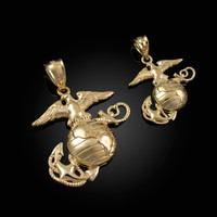 Yellow Gold US Marine Corps USMC Pendant (S/L)