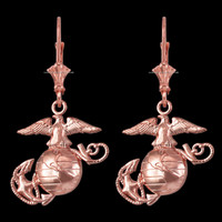 14K Rose Gold US Marine Corps Leverback Earrings