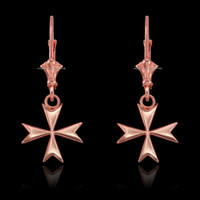 14K Rose Gold Maltese Cross Earrings