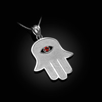 White Gold Hamsa Red CZ Evil Eye Pendant Necklace
