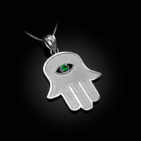 White Gold Hamsa Green CZ Evil Eye Pendant Necklace