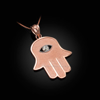 Rose Gold Hamsa Clear CZ Evil Eye Pendant Necklace