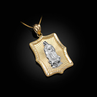 Two-Tone Yellow & White Gold Lady Guadalupe DC Pendant Necklace