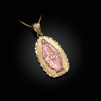 Two-Tone Yellow & Rose Gold Lady of Guadalupe DC Pendant Necklace