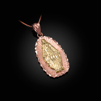 Two-Tone Rose & Yellow Gold Lady of Guadalupe DC Pendant Necklace
