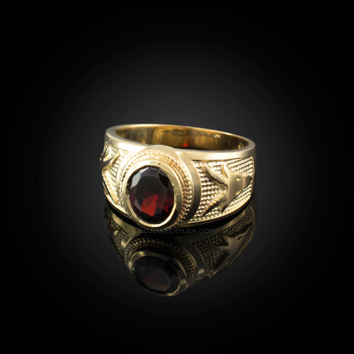 Capricorn 10k or 14k Solid Yellow Gold Zodiac CZ Ring