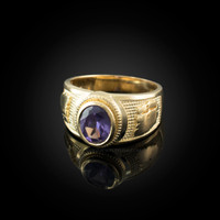Yellow Gold Gemini Zodiac Sign June Birthstone Violet CZ Ring