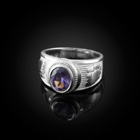 White Gold Gemini Zodiac Sign June Birthstone Violet CZ Ring
