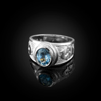 White Gold Pisces Zodiac Sign March Birthstone Aqua CZ Ring
