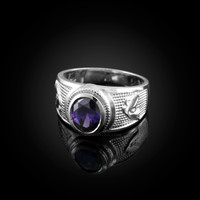 White Gold Aquarius Zodiac Sign February Birthstone Purple CZ Ring