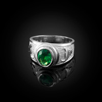 White Gold Taurus Zodiac Sign May Birthstone Green CZ Ring