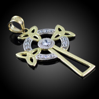 Two-Tone Gold Celtic Cross Trinity Knot Diamond Pendant