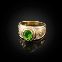 Yellow Gold Leo Zodiac Sign August Birthstone Green CZ Ring