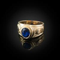 Yellow Gold Virgo Zodiac Sign September Birthstone Blue CZ Ring