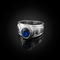 White Gold Virgo Zodiac Sign September Birthstone Blue CZ Ring