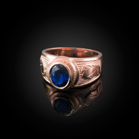 Rose Gold Virgo Zodiac Sign September Birthstone Blue CZ Ring