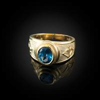 Yellow Gold Sagittarius Zodiac Sign December Birthstone Blue CZ Ring