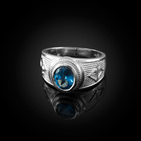 White Gold Sagittarius Zodiac Sign December Birthstone Blue CZ Ring