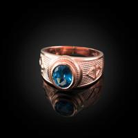 Rose Gold Sagittarius Zodiac Sign December Birthstone Blue CZ Ring