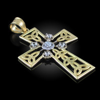 Gold Celtic Cross Trinity Knot Diamond Pendant