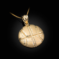 Yellow Gold Basketball Satin DC  Pendant Necklace