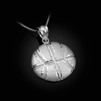 White Gold Basketball Satin DC  Pendant Necklace