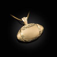 Yellow Gold Satin DC American Football Pendant Necklace