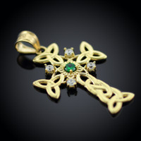 Gold Celtic Knot Trinity Cross Diamond Pendant with Genuine Emerald
