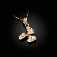 Yellow Gold Satin DC Rotor Propeller Charm Necklace
