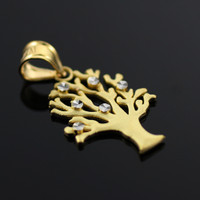 Satin Finish Gold Tree Of Life Charm Pendant
