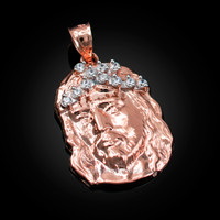 Rose Gold Jesus Face CZ Pendant (S/L)