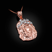 Rose Gold Jesus Face CZ Charm Necklace