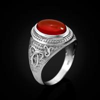 White Gold Celtic Trinity Red Onyx Gemstone Ring