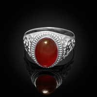 White Gold Om Oval Cabochon Red Onyx Yoga Ring