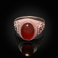Rose Gold Om Oval Cabochon Red Onyx Yoga Ring