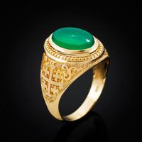 Yellow Gold Jerusalem Cross Green Onyx Gemstone Statement Ring