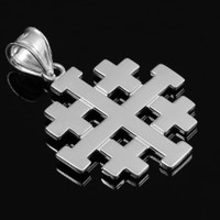 "Polished White Gold Jerusalem ""Crusaders"" Cross Pendant"