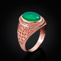 Rose Gold Jerusalem Cross Green Onyx Gemstone Statement Ring