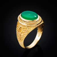 Yellow Gold Egyptian Ankh Cross Green Onyx Statement Ring