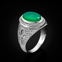 White Gold Egyptian Ankh Cross Green Onyx Statement Ring