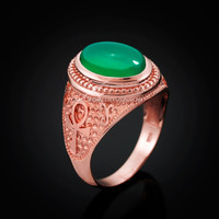 Rose Gold Egyptian Ankh Cross Green Onyx Statement Ring