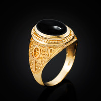 Yellow Gold Egyptian Ankh Cross Black Onyx Statement Ring