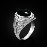 White Gold Egyptian Ankh Cross Black Onyx Statement Ring