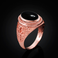 Rose Gold Egyptian Ankh Cross Black Onyx Statement Ring