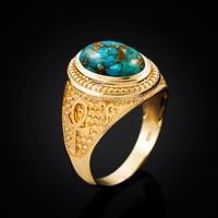 Yellow Gold Egyptian Ankh Cross Blue Copper Turquoise Statement Ring