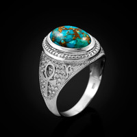 White Gold Egyptian Ankh Cross Blue Copper Turquoise Statement Ring